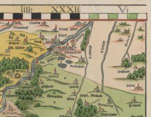 Kartenausschnitt aus Apians Chorographia Bavariae mit Ruckenstain im Zentrum